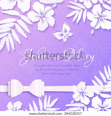 White Cutout Paper Tropical Flowers On Purple Background Vector Wedding Card Template
