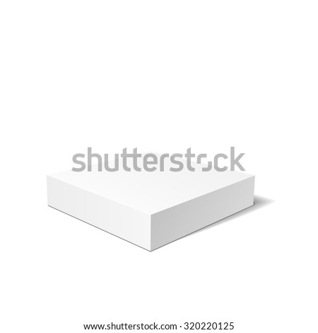 White 3D box isolated on a white background. Vector illustration for your design. - stock vector