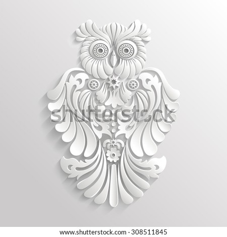 White 3D decorative owl with stars - stock vector
