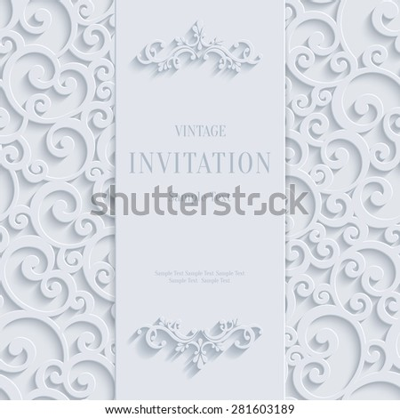 White 3d Floral Curl Background with Swirl Damask Pattern for Christmas or Wedding or Invitation Card. Vector Vintage Design Template - stock vector