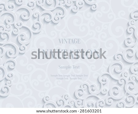 White 3d Floral Swirl Horizontal Background with Curl Pattern for Wedding or Invitation Card. Abstract Vector Vintage Design Template - stock vector