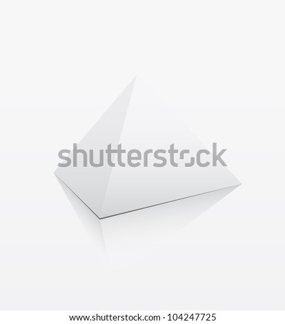 White 3d pyramid on white background - Vector - stock vector