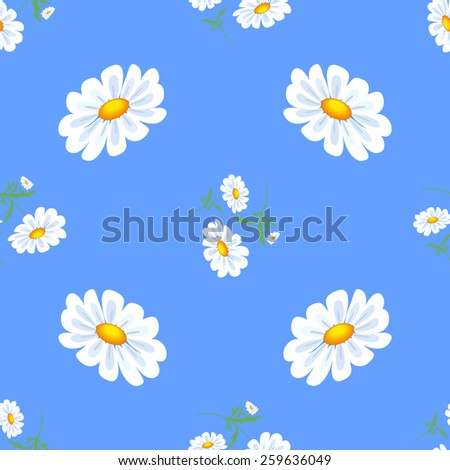 White daisies flowers Seamless Repeating Pattern. - stock vector