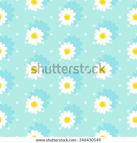 White daisy seamless pattern .Daisy field. Flower chain - stock vector