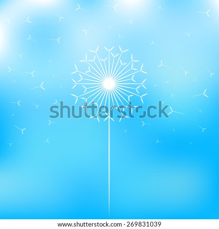 white dandelion fluff and a blue sky background - stock vector