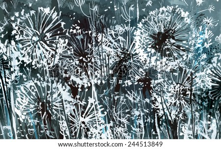 white dandelions on a dark-blue background/ watercolor painting/ vector illustration - stock vector