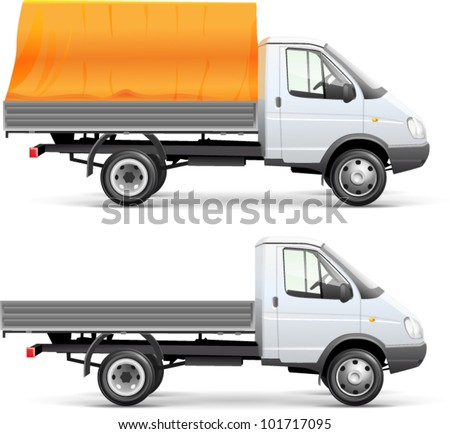 White delivery car isolated with vector clipping path included - stock vector