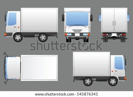 White delivery truck prepared for branding in four views - left, front, rear, top and right. Each view is a separate group. Vector image contains no meshes for easy editing