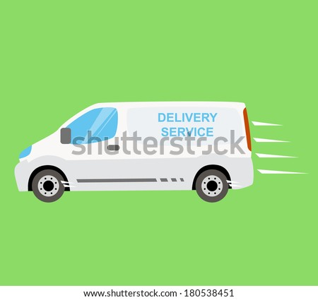 White delivery van on the green background. Fast and free delivery on-time isolated vector van illustration. Delivering services and express delivery truck - stock vector