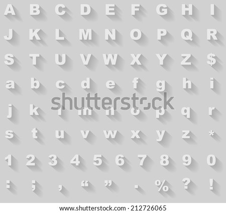 White diagonal long shadow styled alphabet vector template. - stock vector