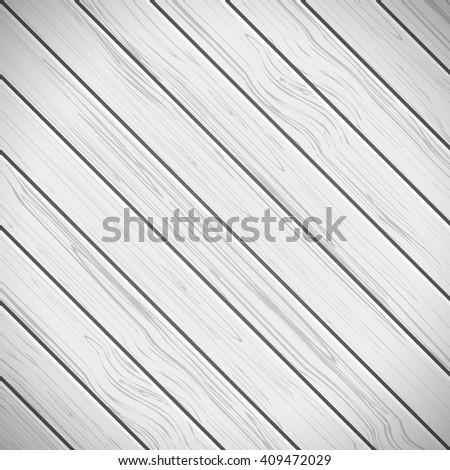 White diagonal wooden background. Vector illustration - stock vector