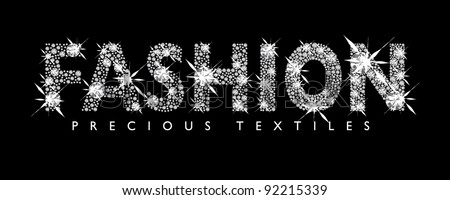 White diamond fashion text with black background - stock vector