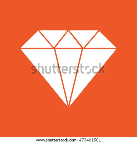 White diamond icon vector illustration. Orange background