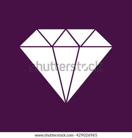 White diamond icon vector illustration. Purple background