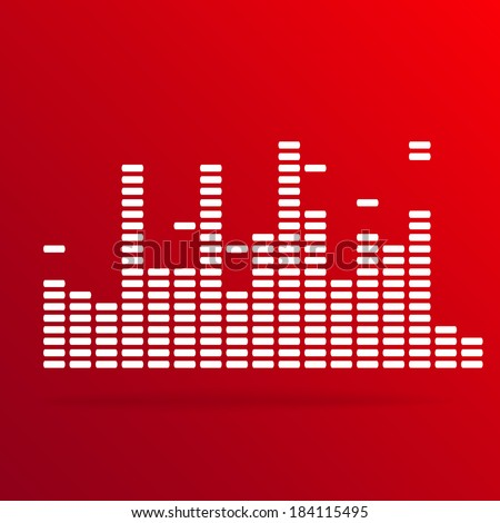 White digital equalizer background on red - vector illustration - stock vector