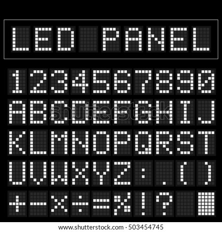 White digital square led font display with sample panel