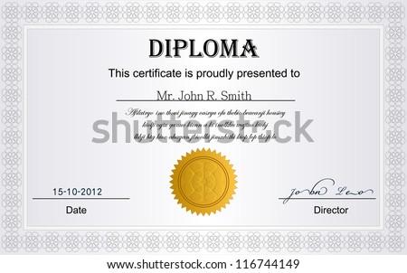 White Diploma Certificate. - stock vector