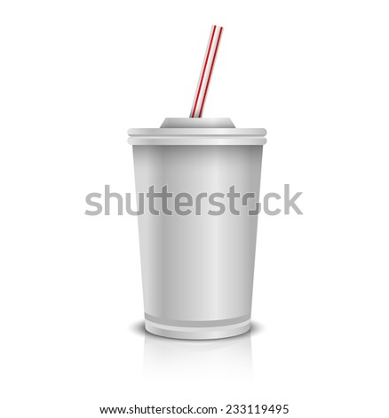 White Disposable Paper Cup With Lid And Straw.