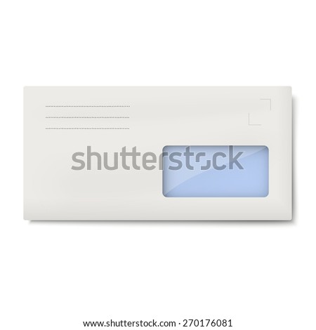 White DL envelope with window for address isolated - stock vector
