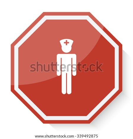 White Doctor icon on red stop sign web app