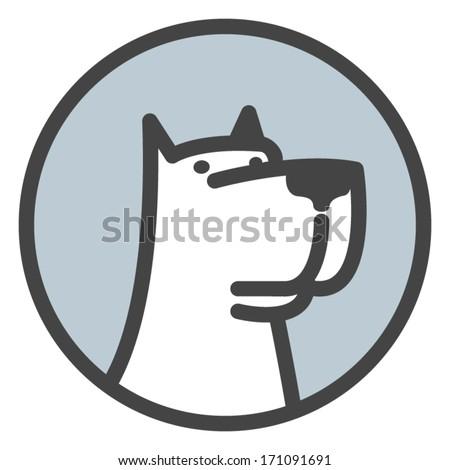 White dog head label  Vector logo template  - stock vectorDog Head Vector