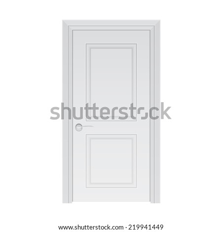 White door isolated on white photo-realistic vector illustration - stock vector