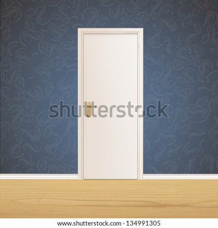 White door on vintage wall background. Vector design. - stock vector
