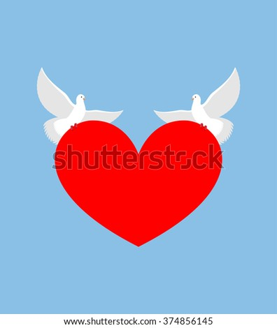White Dove holds heart. Two white bird is symbol of purity. Red heart symbol of love. Two lovebirds bear love. Element for Valentines day. - stock vector