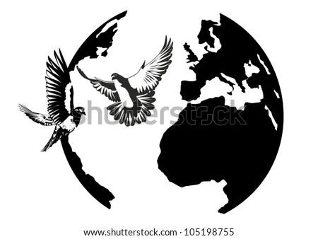 White doves flying against the Earth. Black and white illustration. - stock vector