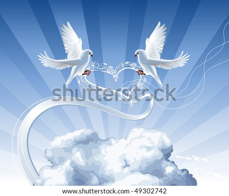 White doves with roses wreath live in the clouds - stock vector