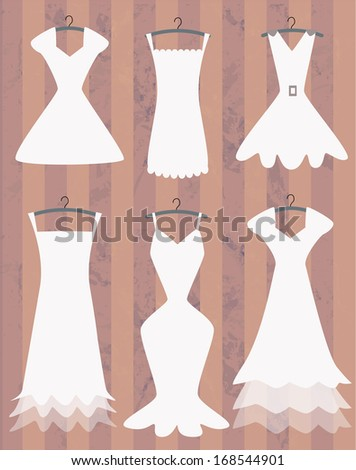 white dresses collection - stock vector