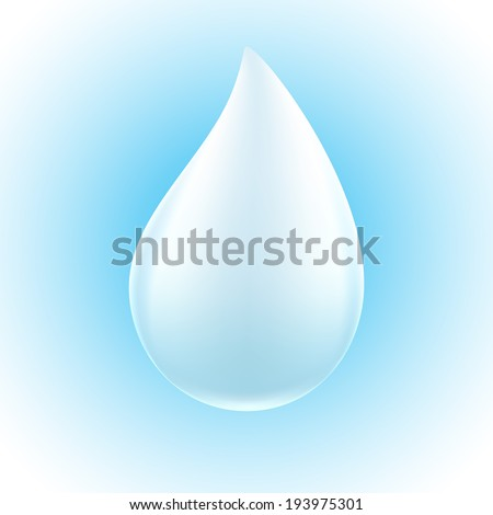 White drop on blue background. Milk, water or paint droplet.