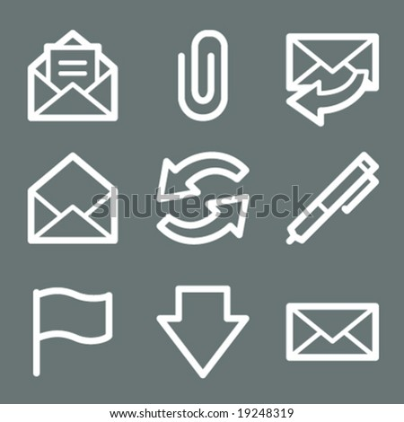White e-mail web icons V2 - stock vector