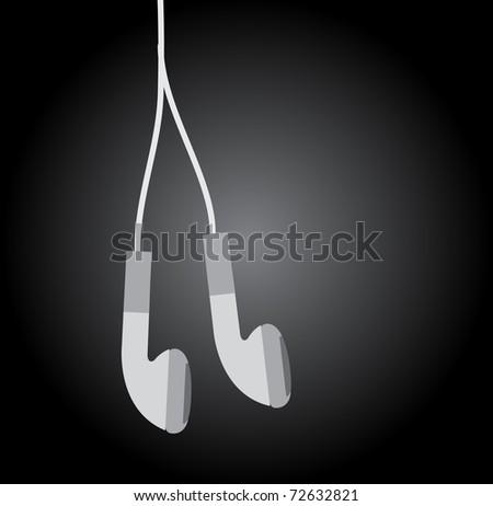 white earphones on black background - stock vector