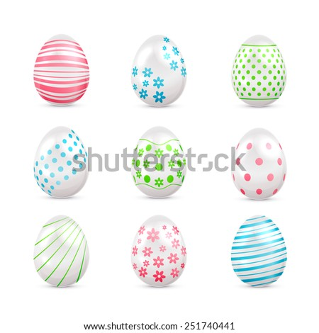 White Easter eggs with decorated elements isolated on white background, illustration. - stock vector