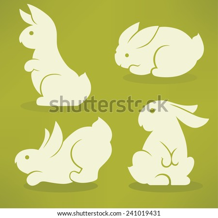 white Easter rabbits silhouettes on green background - stock vector