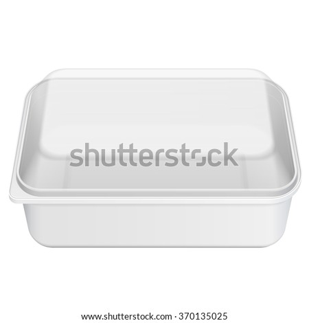White Empty Blank Styrofoam Plastic Food Tray Container Box With Lid, Cover. Illustration Isolated On White Background. Mock Up Template Ready For Your Design. Vector EPS10 - stock vector