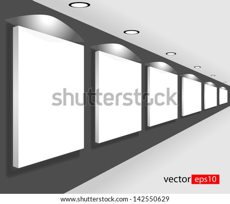 White empty large banners in interior, room with empty white board or canvas - stock vector