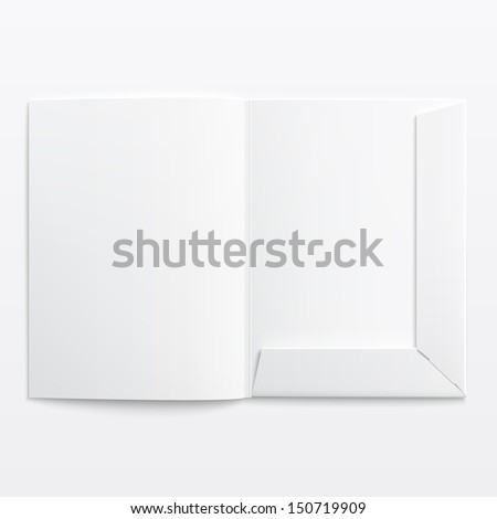 White empty open folder on gray background with soft shadows. Vector illustration. EPS10. - stock vector