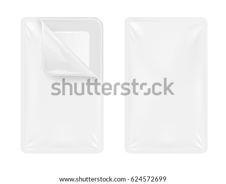 White empty plastic container for food. Packaging for meat, fish and vegetables.