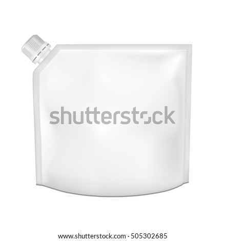 White empty plastic packaging with cap. Blank foil sachet for food or drink.