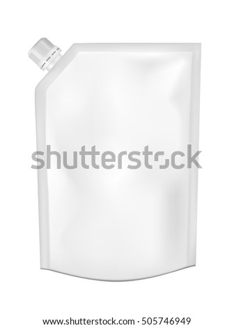 White empty plastic packaging with cap. Blank foil sachet for food or drink