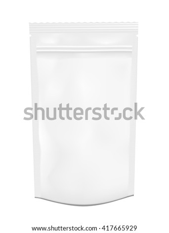 White empty plastic packaging with zipper. Blank foil or plastic sachet for food or drink. - stock vector