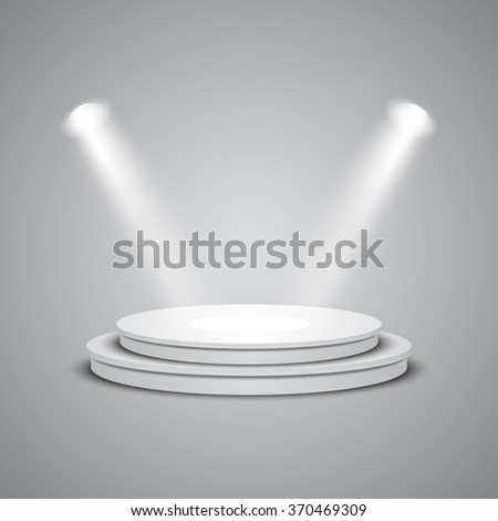 White empty round stage with glowing spotlights. Vector illustration.