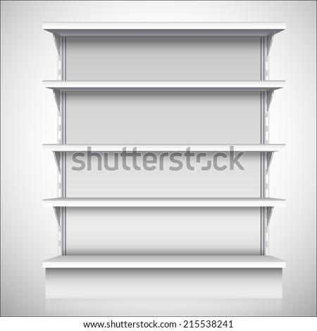 White empty supermarket retail store shelves isolated on white background vector illustration - stock vector