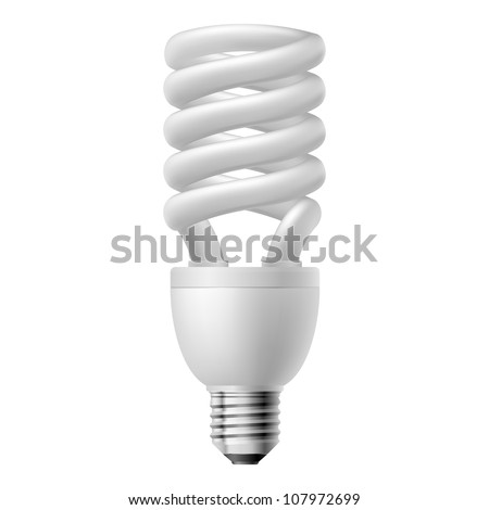 White energy saving lamp.  Illustration on white background. - stock vector