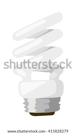 White energy saving lamp. Illustration saving bulbs on white background. Electricity fluorescent power saving bulbs and light saving bulbs. Electric technology glass saving bulbs environmental. - stock vector