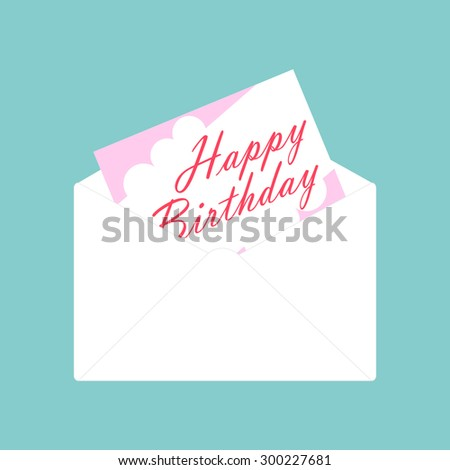 white envelope and happy birthday card vector on blue background - stock vector