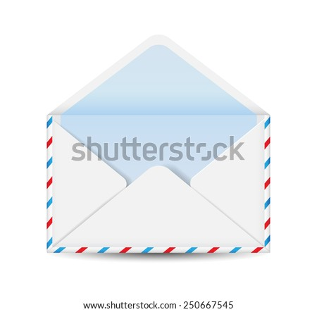 White envelope isolated on white background. Vector illustration. - stock vector