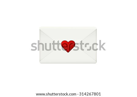 White envelope vector. Realistic envelope isolated on white background. Romantic letter. Red heart. Real love concept. Closed envelope. Love letter. Valentine Day love beautiful. Secret love letter. - stock vector
